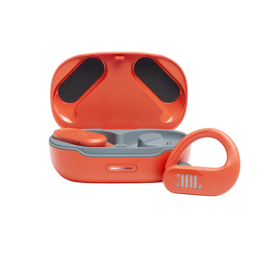 JBL Endurance Peak II - Coral Orange - Waterproof True Wireless In-Ear Sport Headphones - Hero